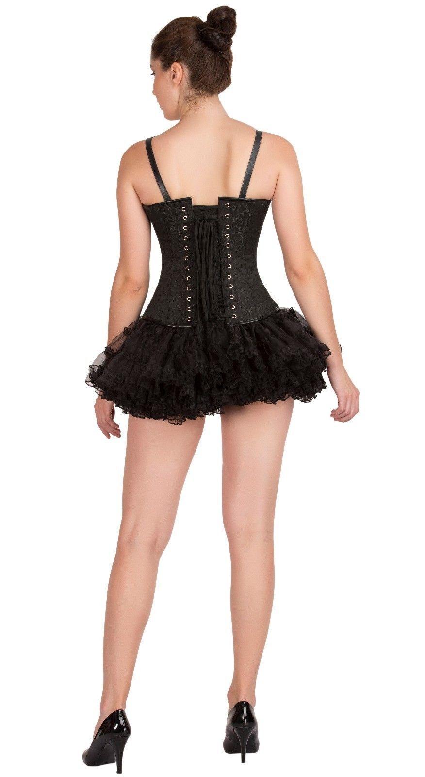 Black Brocade Leather Straps  Goth Overbust Top & Tissue Tutu Skirt Corset Dress