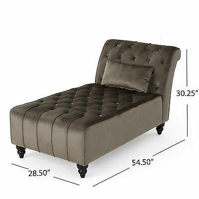 Luxurious Velvet Accent Chaise Lounge Chair Tufted Plush Recline Relax Dark Gray