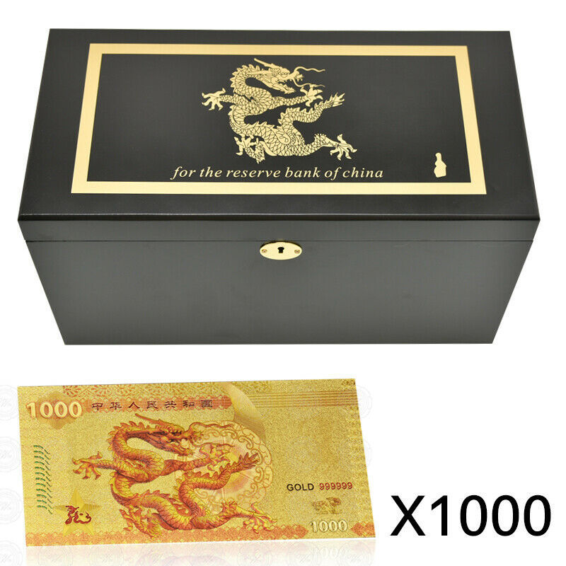 WR 1000pcs Chinese Dragon 1000 Yuan Gold Foil Banknotes Money Paper With Box