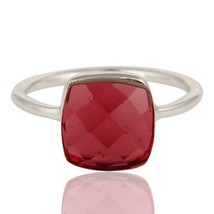 Pink Glass 925 Sterling Silver Stackable Ring Designer Jewelry - $16.00