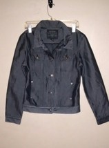 Guess Jean Jacket Womens Medium Denim Jacket Black Shiny - $28.05