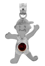 White Gold January Birthstone Red Round CZ Baby Boy Charm Pendant - $74.99