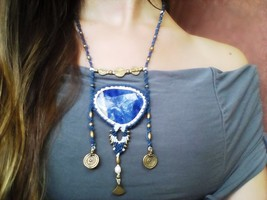 Sodalite macrame necklace, Blue necklace, Crystal of peace and harmony, ... - $90.00