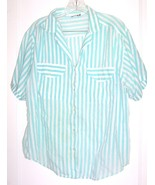 Plus Size 16W - Diamond Hill Aqua Green & White Striped Short Sleeve Blouse - $25.64