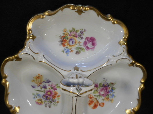 Vintage German Divided Porcelain Nut Candy Dish HP with Heavy Gold Detailing
