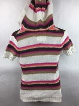 Girl's Justice Pink Orange Brown & White Striped Knit Hooded Top Size 14 image 3