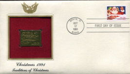 CHRISTMAS 1991 Traditions of Christmas First Day Gold Stamp Issue Oct. 1... - $5.75