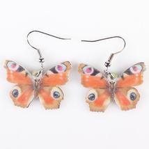 (ae426orange)Bonsny Drop Butterfly Earrings Acrylic Art Big Long Danlge ... - $10.00