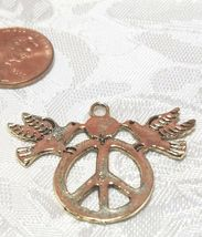 DOVES OF PEACE ON PEACE SIGN LARGE FINE PEWTER PENDANT image 3
