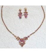 TAYLOR-MAID PINK IRIDESCENT ROUND CUT NECKLACE SCREW BACK EARRINGS SET EUC  - $49.99