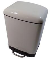 SQUARE 6L METAL WASTE RUBBISH PEDAL BIN NON-SLIP SOFT CLOSE CREAM 23 X 2... - $40.56