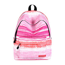 large capacity lady creative fashion pink stripe pattern waterproof shou... - $28.00
