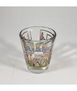 Vintage 22K Gold Overlay Alaska Souvenir Shot Glass Flowers Floral Shotg... - $7.92