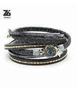 Bracelets For Women Jewelry Multi-layer Leather Rope With Quartz Crystal... - $8.60