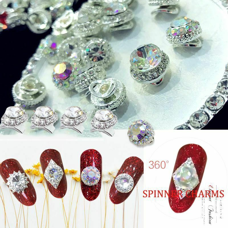 5Pcs Rotational 3D Nail Art Crystal Spinner Rhinestone Manicure Glitter Charm