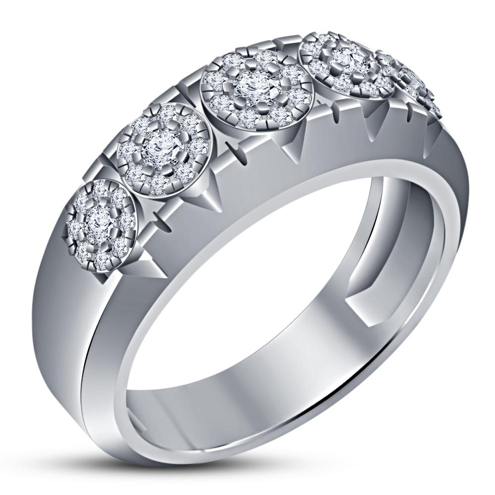 14K White Gold 925 Silver Diamond Engagement Bridal Wedding Band Trio Ring Set