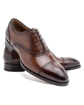 Handmade Men's Two Tone Leather Brogue Style Oxford Shoes image 6