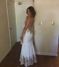 Ss gold lace gown mermaid prom dress long dresses backless white gown black white dress thumb200