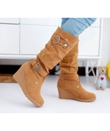 85B025 Chic holic high wedge booties w buckles, Size 4-9.5, yellow - $62.80