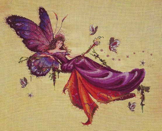 "Primary image for ""REINA MARIPOSA"" CROSS STITCH KIT  w/ 32 count Belfast Sahara Linen"