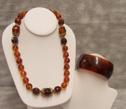 Amber Beaded Necklace with Vintage Bracelet Lucite? Solid Band - $9.89