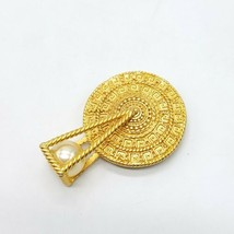 Aztec Style Gold Tone Sundial With Pendulum Faux Pearl Brooch Pin Signed AJC - $32.66