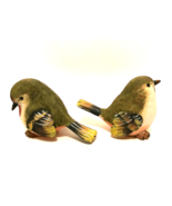 Bird Figurines Two Detailed Resin Green Cream Brown Small Birds 3.5 inch... - $27.72
