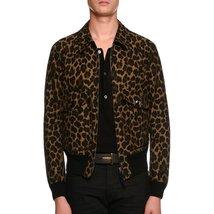 Stander Collar Men Leapord Print Leather Bomber Jacket