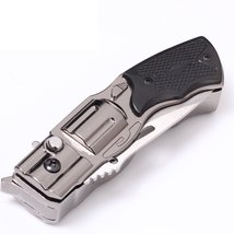 Folding Knife Windproof Refillable Butane Gas Trip Jet Flame Cigarette Lighter - image 3