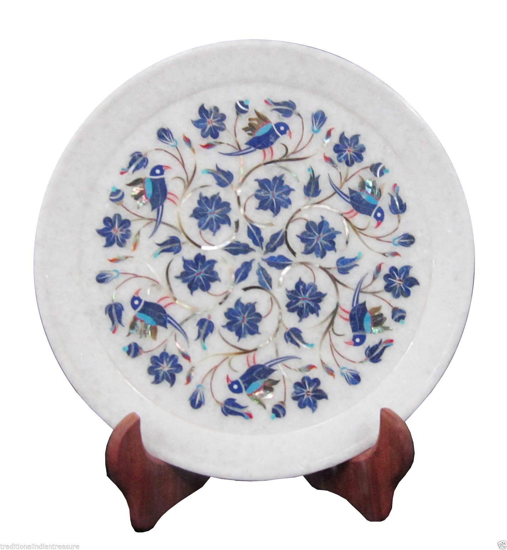 """Size 9""""x9"""" Marble Serving Kishti Plate Lapis Inlaid"""