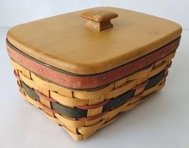 Longaberger Oblong Basket with Lid & Plastic Liner 1996 Red & Green Hand... - $38.69