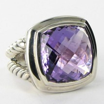 David Yurman Albion Amethyst Ring 17mm Cable Sterling Split Shank Sz 7 N... - $921.50
