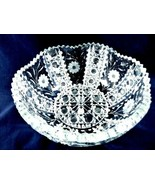 VTG DEEP CUT CRYSTAL CLEAR SCALLOPED EDGE ETCHED FLOWER BOWL - $157.61