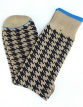 Lord R Colton Taupe & Navy Check Dress Socks - $28 Retail - Brand New - $11.69