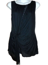 Deletta Anthropologie Tunic Top M dark blue jersey knit lace lining NEW - $28.00