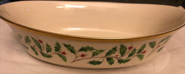 """Lenox Holiday Holly & Berries Oval Vegetable Serving Bowl 10-1/8"""" - $45.80"""