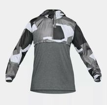 UNDER ARMOUR HOODIE PULL OVER WINDBREAKER TOP Black & Gray Adult Extra Large!! image 8