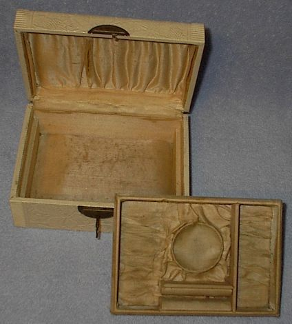 Antique Victorian Celluloid Covered Ladies Jewels Box with Key