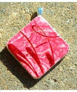 Wood Wooden Pendant Handcrafted Handmade Jewelry Peppermint Red Swirl - $3.00