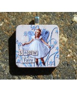 Wood Wooden Tile Pendant Handcrafted Jewelry Snow Fairy Winter Girl Snow... - $3.00