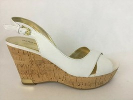 Marc Fisher Leather Wedge White Sandal QM Wasin Size 8 Cork Heel A26447 - $41.14