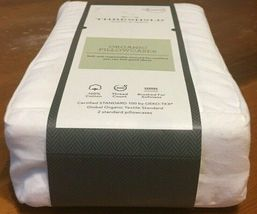 Standard 300 Thread Count ORGANIC Pillowcase Set standard White Threshold NEW! - image 4