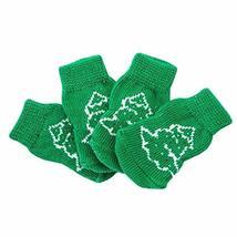 PANDA SUPERSTORE 4 Pcs Green Christmas Tree Dog Knitted Pet Socks Cartoon Cute P