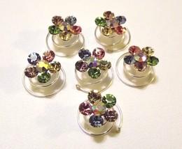 12 Multi  Swarovski Crystal Twisties Spiral Bridal Hair Pin - $21.99