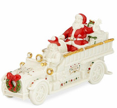 Lenox Mistletoe Park Truck Fire Truck With Santa Village Treasures New I... - $69.90