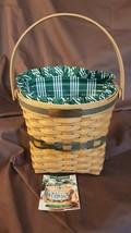 Longaberger 1998 Christmas Collection Green GLAD TIDINGS Basket Liner Pr... - $19.95