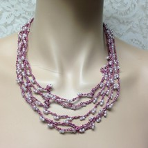 Vintage, Multi-Layers String of White Faux Pearls Necklace - $3.75