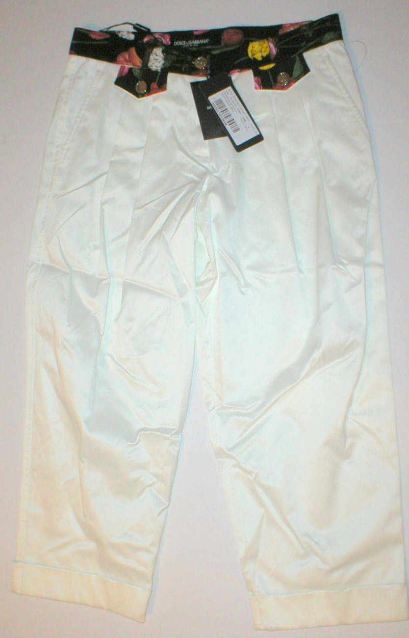 NWT Womens 0 Dolce & Gabbana White Pants 2 Floral Capris 38