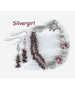 Genuine Garnet Gemstone Chip Bracelet and Earring Set - $23.99