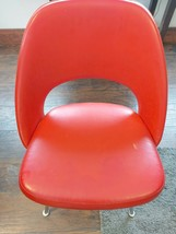 Vintage Mid Century Modern Red Vinyl Art Stainless Steel Knoll Side Chair  - $346.50